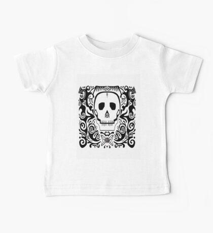 Skull Stencil_white Baby Tee
