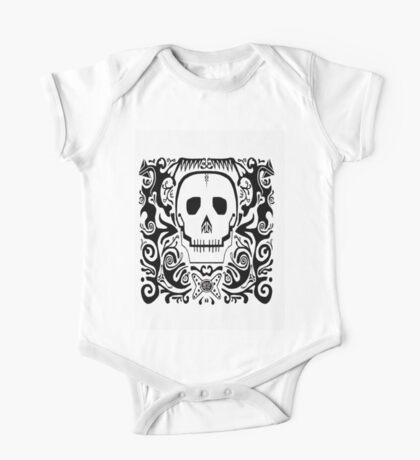 Skull Stencil_white One Piece - Short Sleeve