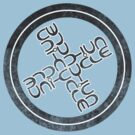 Unicycle cyclic ambigram by black-ink