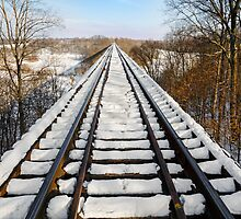 Snowy Railway Trestle by Kenneth Keifer