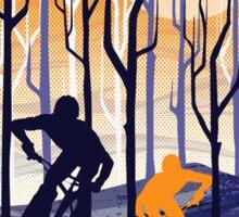 retro mountain bike poster illustration Sticker
