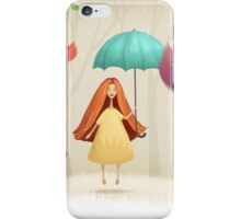 Girl jumping with umbrella iPhone Case/Skin