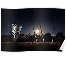 Moonrise Over Water Dance Sculptures  Poster