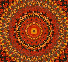 Autumn Leaves Rust Mandala by Vicki Field