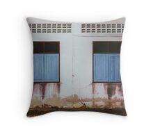 Run-down Facade with Closed Windows Throw Pillow