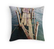Abandoned Wooden Pier Throw Pillow