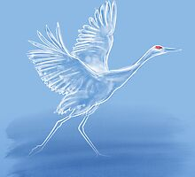 Crane On Lake by DKnightDesign