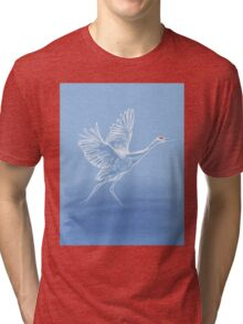 Crane On Lake Tri-blend T-Shirt