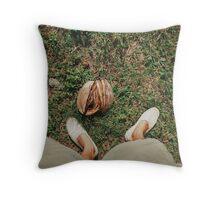 Man Wearing Espadrilles on Grass Throw Pillow