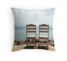 Two Empty Chairs On Beach Throw Pillow