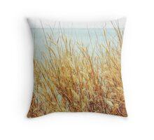 Golden Grass By The Sea Throw Pillow