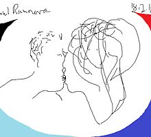The Kiss II/with British flag colours -(180214)- Digital artwork/MS Paint by paulramnora