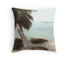 Palm Tree on Beach Throw Pillow