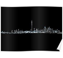 Toronto Skyline At Night From Centre Island Mono Poster