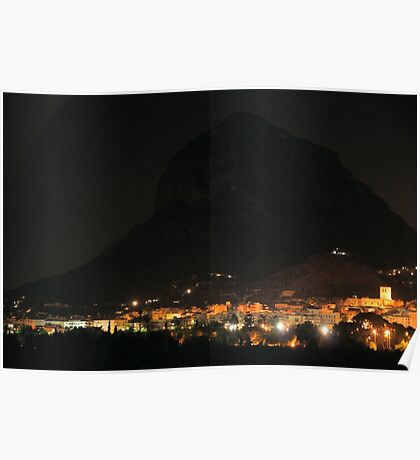 Montgo Mountain at Night Poster