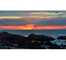 beach red and orange sunset Photographic Print