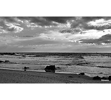 black & white beach Photographic Print