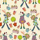 Seamless pattern with retro art deco animals by Maryna  Rudzko