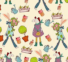 Seamless pattern with retro art deco animals by Maryna  Rudzko