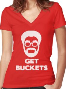 Uncle Drew get buckets Women's Fitted V-Neck T-Shirt