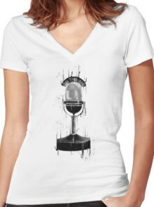 DARK ON THE AIR Women's Fitted V-Neck T-Shirt