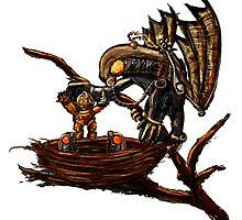 Songbird Feeds the Babies by PixelStampede