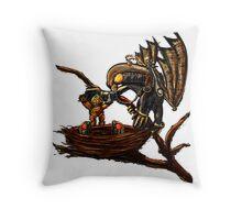 Songbird Feeds the Babies Throw Pillow