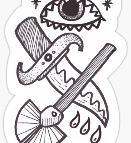 The knife and shovel Sticker