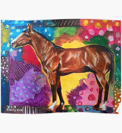 'HORSE IN AN ABSTRACT LANDSCAPE'  Poster