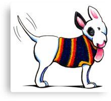 Bull Terrier in Blue Canvas Print
