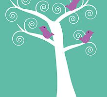 Five Purple Birds in a Tree by ValeriesGallery