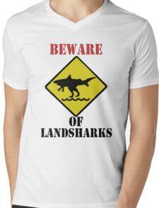 BEWARE - Landsharks!! Mens V-Neck T-Shirt