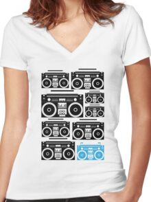 Boombox Black & Blue Women's Fitted V-Neck T-Shirt