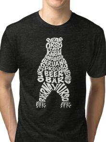 World bear - white logo Tri-blend T-Shirt
