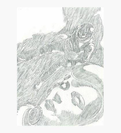 sci fi girl pencil drawing Photographic Print