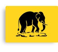 Asian Elephants Ahead / Thai Elephant Trekking Traffic Sign Canvas Print