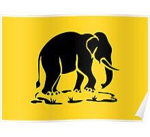 Asian Elephants Ahead / Thai Elephant Trekking Traffic Sign Poster