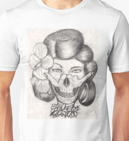 Hula Girl With the Skull Tattoo Unisex T-Shirt