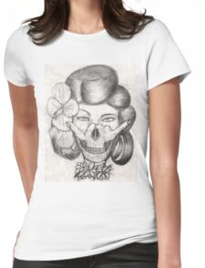 Hula Girl With the Skull Tattoo Womens Fitted T-Shirt