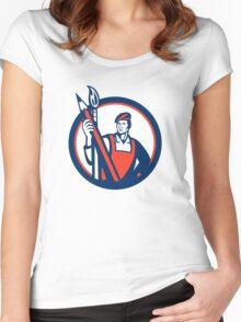 Artist Painter Holding Pencil Paintbrush Retro Women's Fitted Scoop T-Shirt