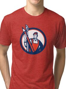 Artist Painter Holding Pencil Paintbrush Retro Tri-blend T-Shirt