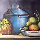 ANTIQUE BLUE POT STILL LIFE by Pamela Plante