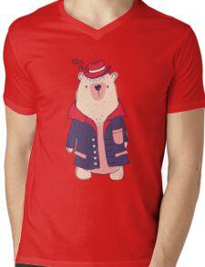 Coat winter bear Mens V-Neck T-Shirt