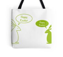 Happy Easter card with bunnies Tote Bag