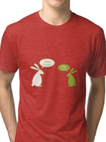 Happy Easter card with bunnies Tri-blend T-Shirt