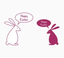 Happy Easter card with bunnies Kids Tee