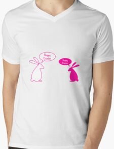 Happy Easter card with bunnies Mens V-Neck T-Shirt