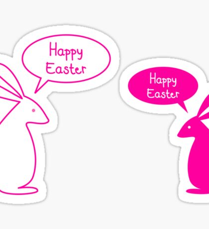 Happy Easter card with bunnies Sticker