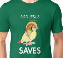 Twitch Plays Pokemon: Bird Jesus Saves - Green with White Text Unisex T-Shirt