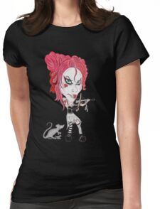 Gothic Punk Alternative Rock Funny Caricature Womens Fitted T-Shirt